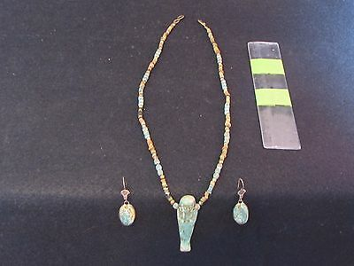 Ancient Egyptian Necklace with Earrings, New Kingdom 1550-1070 B.C.