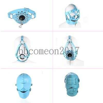 Blue series Leather  Bondage Hood Mouth Gag Blindfold Full Head Mask Restraints
