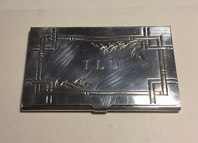 Tiffany & Co. 2002 Authentic Sterling Silver Bamboo Pattern Card Case