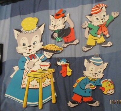 VTG Lot 3 Little Kittens Set Dolly Toy Co Nursery Decor Wall Pin-Up Three Cat
