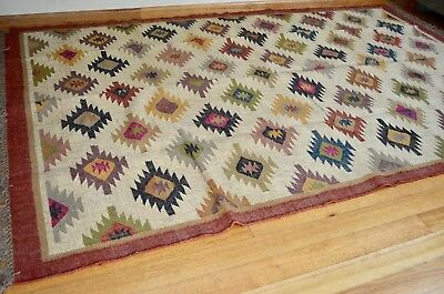 Kilim Rug Indian Jute Wool Large Hand Knotted 180x275cm 6x9ft Geometric Diamond