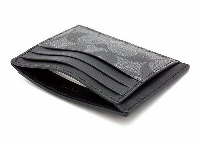 Coach Men's Signature Pvc/leather  Id Card Case  Charcoal/black F75027 / F58110