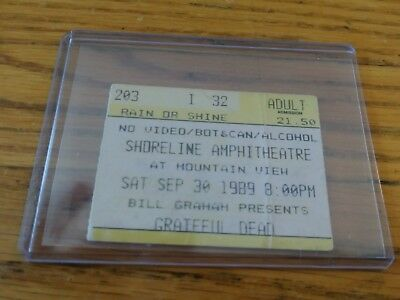 Grateful Dead, Concert Ticket Stub, 09/30/1989, Shoreline Amphitheatre, Mountain