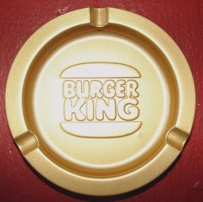 Vintage Burger King Restaurant Metal Ashtray, Gold-Toned Whopper! Free Shipping