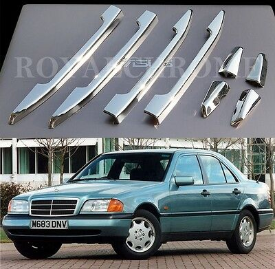 RIGHT HAND DRIVE ROYAL CHROME Door Handle Trims for Mercedes W202 W210 C E CLASS