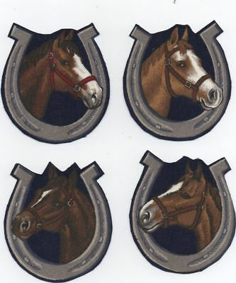 4 Pony Horse Shoe Hand Cut Iron On License Cotton Fabric Applique 4A