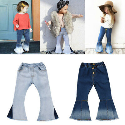 USA Toddler Kids Baby Girl Bell Bottoms Long Pants Denim Jeans Wide Leg Trousers