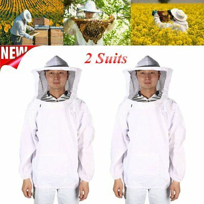 2 Pack of Beekeeping Suit XXL Protective Equipment Veil Smock Jacket Hat Cuff TO