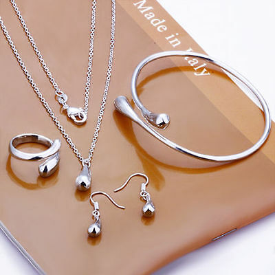 White Gold Plated Jewelry Set Ring Necklace Earring Bracelet Bangle Cocktail