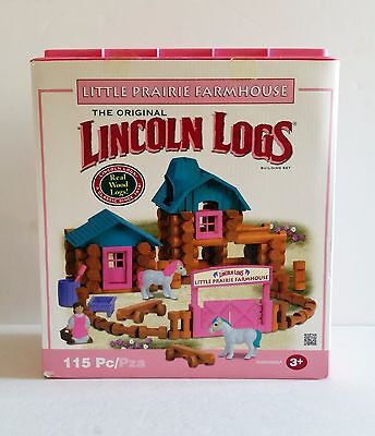Lincoln Logs Little Praire Farm House Building Wood Set 115 Pieces