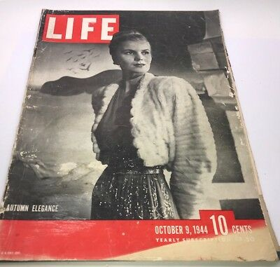 Vintage Antique 40's LIFE Magazine October 9 1944 – Old Ads