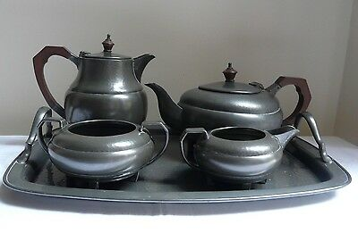 Vintage Art Deco Pewter Tea Set with Tray by Period Pewter Frank Cobb Sheffield
