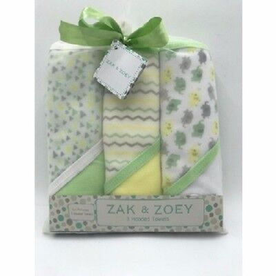 Zak & Zoey Hooded Towel Gift Set for Baby!! - 3 Pack - Unisex - New- Multi-color