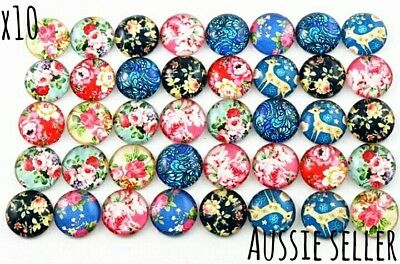 10 Floral Deer Print Cameo Cabochon Glass Dome Pendant Studs Jewellery Round DIY