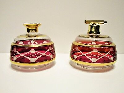 Antique Cut Glass Perfume Atomizer & Scent Bottle Red Ruby Flash Gold Trim - Set
