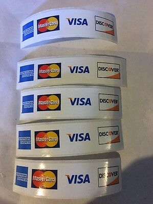 "5 Credit CARD DECAL STICKER 31/4"" X 3/4"" Visa MasterCard Discover American Exp"