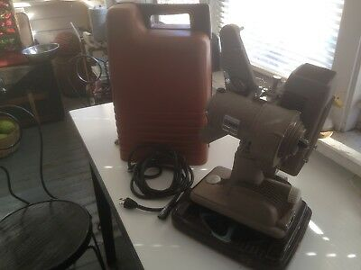 Revere Model P-90 8mm Movie Projector w Case Tested & Working w Bulb Reel Cord