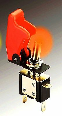 Superbe Interrupteur Aviation Capot+Led Rouge! Qualite Marine Rare Indispensable