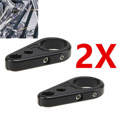 """2X Alloy Brake Clutch Cable Wire Clamps Clip For Harley Davidson 1"""" Handlebar"""
