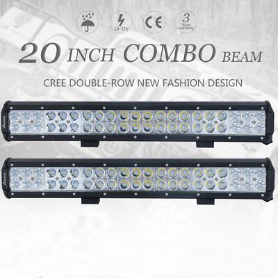 2x 20Inch CREE Led Light Bar Spot Flood Offroad 4WD JEEP Boat Ford SUV 4x4 Ute