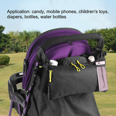 Baby Stroller Organizer Hanging Bag 2 Cup Holders Storage W/ Mesh Pocket Black