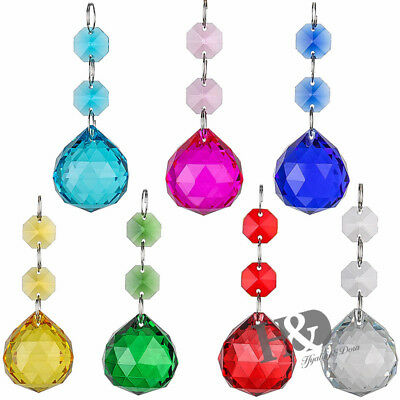 7PCS Colorful Crystal Glass Ball Pendants Chandelier Prisms Parts Beads,30mm