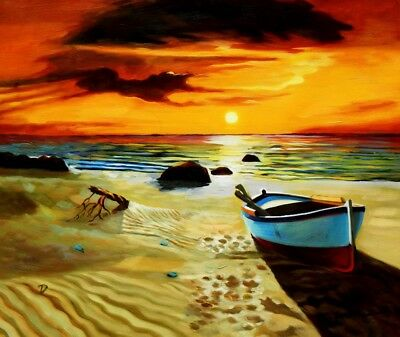 North Sea Sunset & Boat 50x60 cm Oil Painting