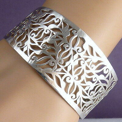WIDE JALI CUFF SilverSari Bangle (Suits All Sizes) Solid 925 Sterling Silver