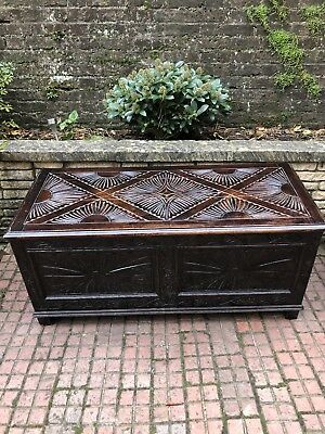 ANTIQUE Gorgeous Victorian Carved Oak Coffer / Chest