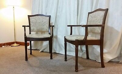 Retro Mid Century Danish [2] Original Chiswell Chairs Armchairs Carvers Pair 70s