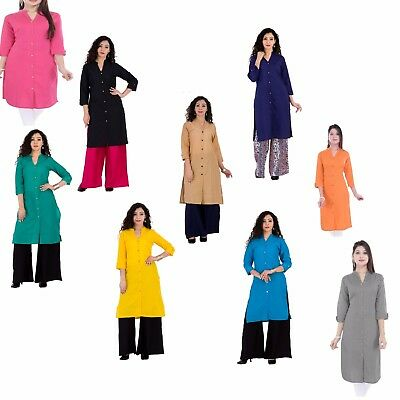 Ethnic Indian Cotton Women Kurta Top Tunic Fashion Wear Kurti Designer Blouse
