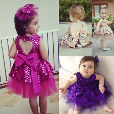 USA Sequins Kids Baby Girl Dress Princess Party Dress Gown Bridesmaid Dresses