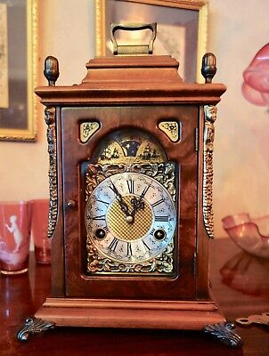 Franze Hermle Mantel/bracket Clock - Two Tone Double Strike-Moon Phase-Working