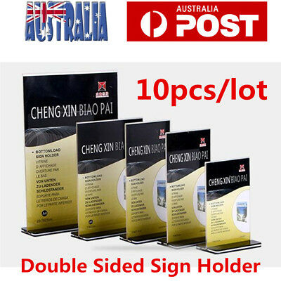 10pcs DL A4 Double Sided Sign Holder Acrylic Retail Display Stands Menu Holder