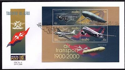 Malta 2000 Air Transport First Day Cover FDC SG MS1180 Not Addressed