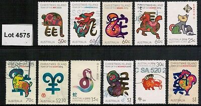 Lot 4575 - Christmas Island - 2008/2017 Chinese New Year used stamp selection