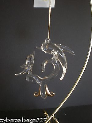 Hanging Glass Dolphin on Wave Decoration Ornament w Gold Accents Nautical Decor