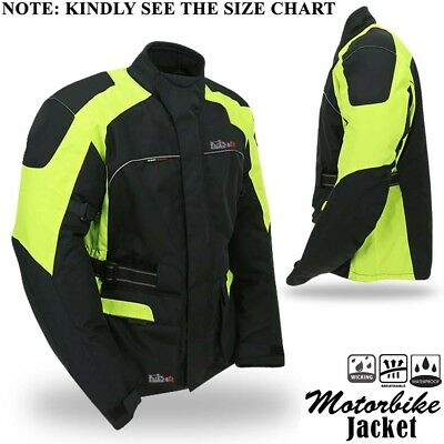 Motorbike Motorcycle Jacket Textile Waterproof Breathable With Armour BLK/H-Viz