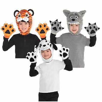 Kids Boys Girls Wild Fancy Dress Book Week Accessory Kit Animal Costume Hat Paws