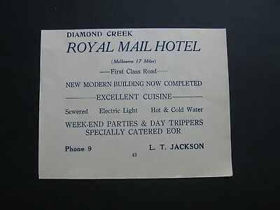 Royal Mail Hotel Diamond Creek ,L T Jackson