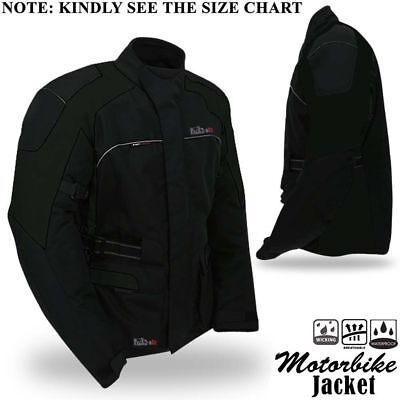 Mens Motorbike Motorcycle Jacket Textile Waterproof Breathable With Armour Black