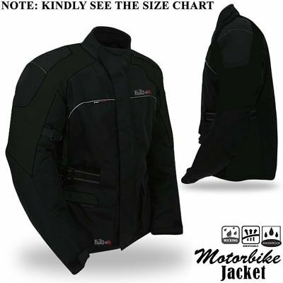 Motorbike Motorcycle Jacket Textile Waterproof Breathable With Armour Black