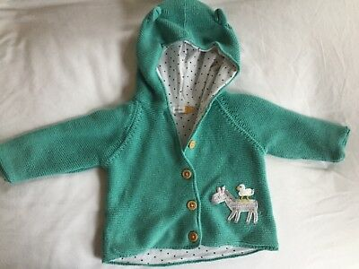 John Lewis knitted hooded cardigan age 0-3 months