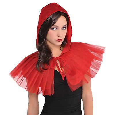 Adult Ladies Mesh Red Riding Hood Cape Jacket Fairytale Accessory Story Book Day