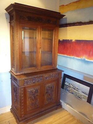Fantastic Victorian Walnut Bookcase Carved With Gargoyles+Mythical Beasts