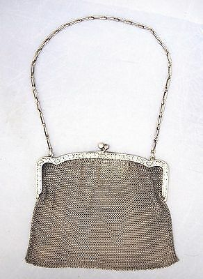 Antique Solid Silver Female Hand Purse Bag Ernst Bek Germany Art Deco 800