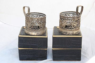 Vintage Set 2 Russian Silver Plated Filigree Glass Holders Cup Boxes Soviet