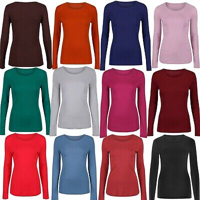 848abfa41dc5c6 Marks & Spencer Womens Pure Cotton Long Sleeve Top New M&S Crew Neck T-Shirt