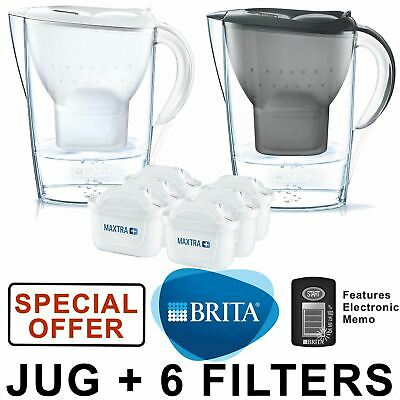 BRITA Marella MAXTRA+ Plus Water Filter Jug 2.4L + 6 Month Cartridges Pack Multi