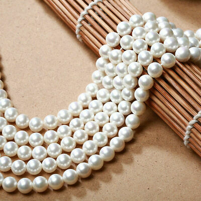 """Genuine 6/8/10mm Natural White South Sea Shell Pearl Loose Beads 15"""" PL483"""